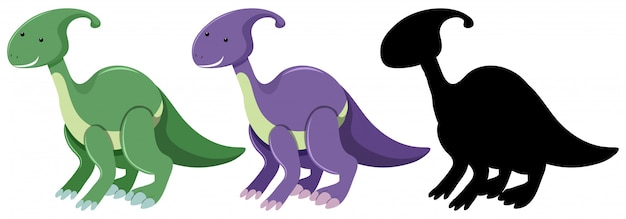 Set of parasaurolophus dinosaur