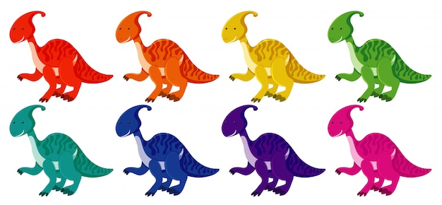 Set of parasaurolophus in eight colors