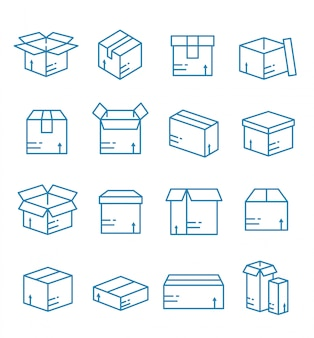 Set of parcel box, package icons with outline style