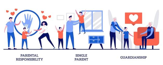 Set of parental responsibility, single parent, guardianship, child custody