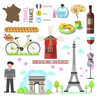 Set of paris/french symbols and landmarks. france vector illustr