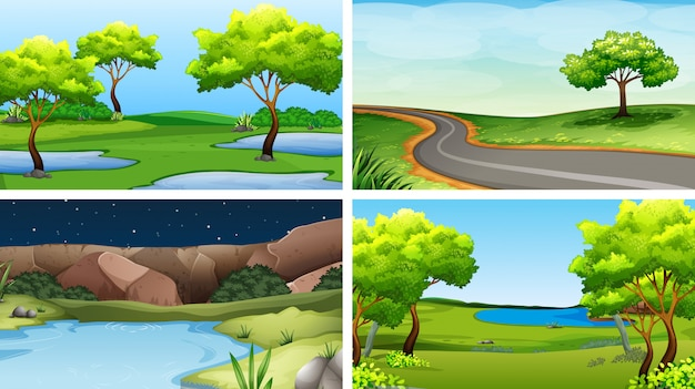 Set of park backgrounds