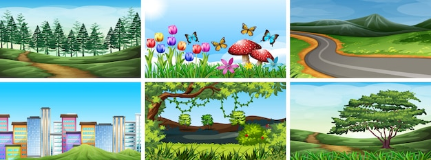 Set of park, field and nature scenes