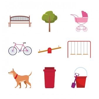 Set of park objects and dog