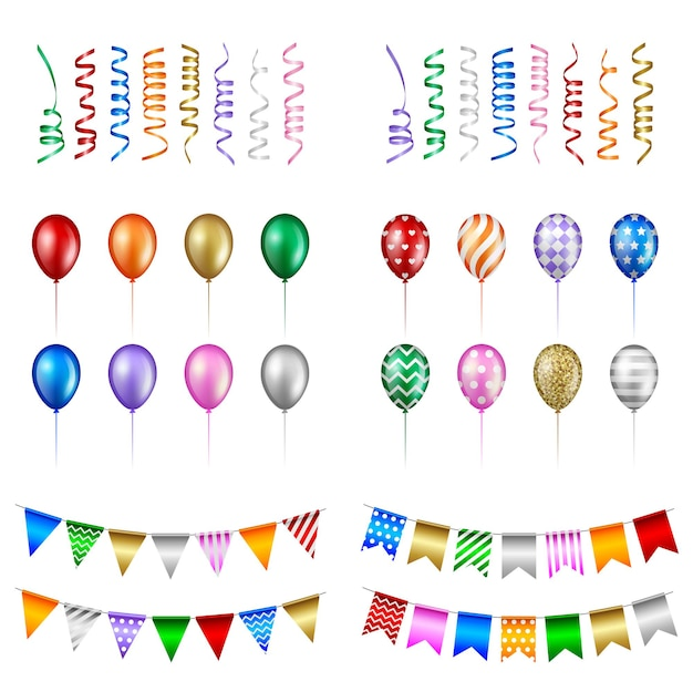 Set of party elements. isolated balloons, streamers and pennants