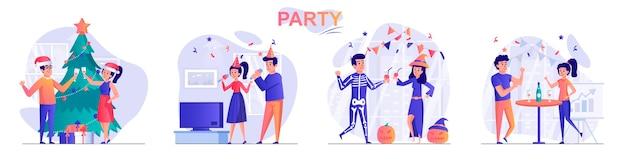 人々のキャラクターのパーティーフラットデザインコンセプトイラストを設定します。