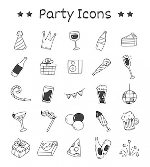 Set of party icons in doodle style