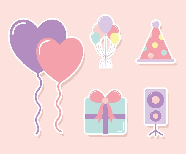 Set of party icons on ligth pink