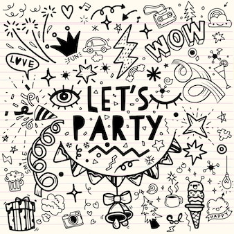 Set of party illustration ,hand drawn doodle sketch line vector, party set. sketch icons for invitation  flyer  poster