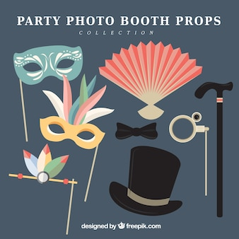 Set of party photo booth props in flat design