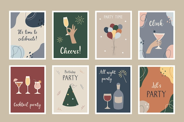 A set of party postcards  templates for party invitations greeting cards posters
