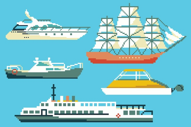 Set of passenger boats and ships in 8 bit art style.