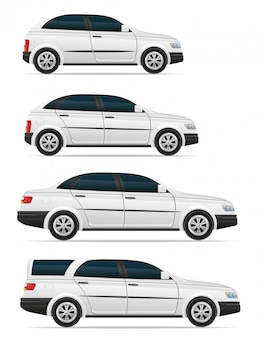 Set of passenger cars with different bodies vector illustration