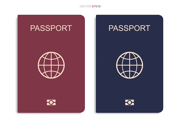 Set of passport isolated on white background