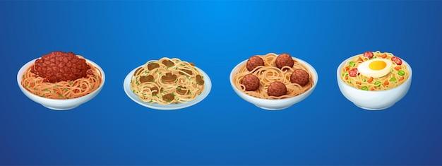 Set di piatti di pasta ristorante o noodles fatti in casa