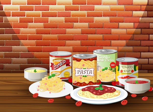 Set of pasta with different sauce