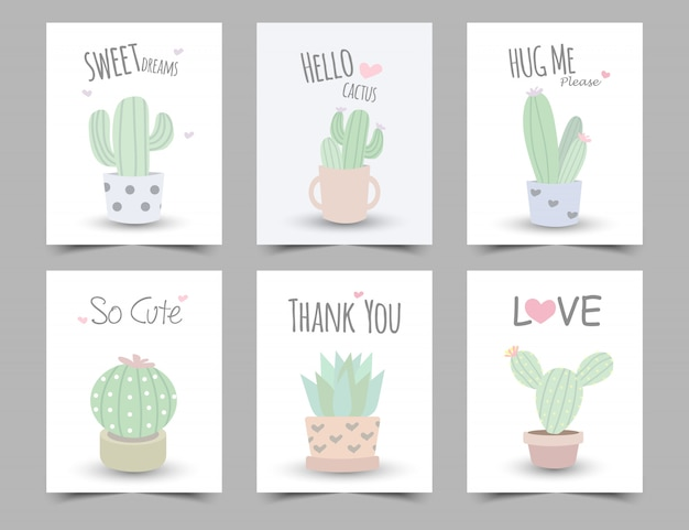 Set of  pastel color illustration with cactus .