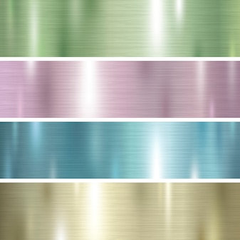 Set of pastel color metal texture background