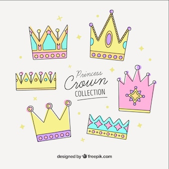 Set of pastel colored crowns in linear style
