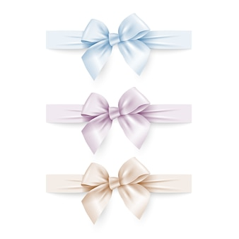Set of pastel colors silk bows with ribbons