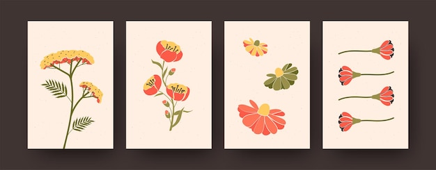 Set of pastel decorative flowers on cards