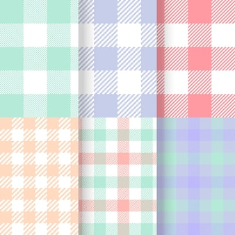 Set of pastel gingham patterns