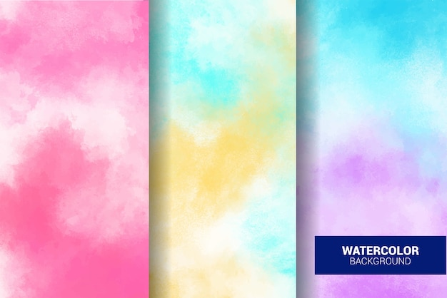 Set of pastel watercolor background. grunge texture. digital art painting