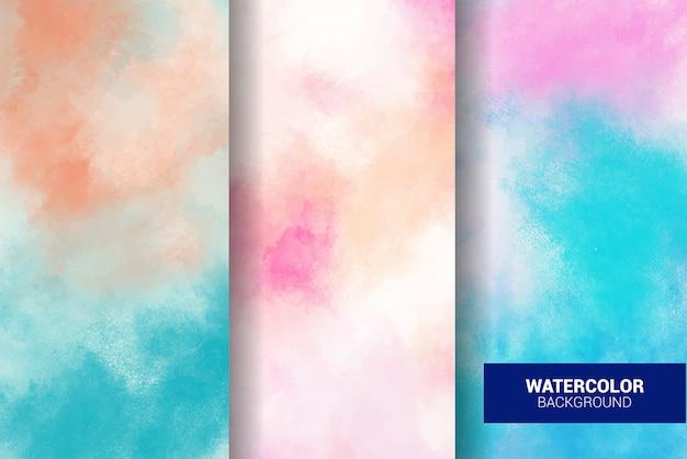 Set of pastel watercolor