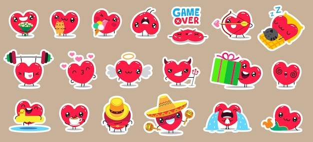 Set of patch badges and stickers with cute hearts characters.   design.