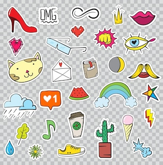 Set of patches elements like flower, heart, crown, cloud, lips, mail, diamond, eyes. hand drawn vector. cute fashionable stickers collection. doodle pop art sketch badges and pins.