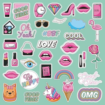 Set of patches fashion teen lovely image