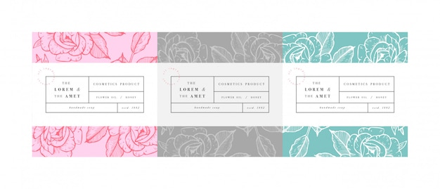 Set pattens for cosmetics with label template design. patterns or wrapping paper for package and beauty salons. botanical collection. organic, natural cosmetic.