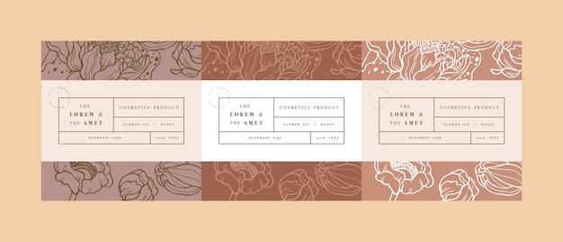 化粧品ラベルテンプレートデザインのパッテンを設定します。蓮の花。オーガニックでナチュラルな化粧品。