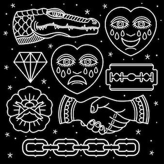 Set pattern flash tattoo