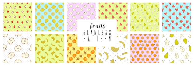 Set pattern of hand drawing summer with fruits and berries