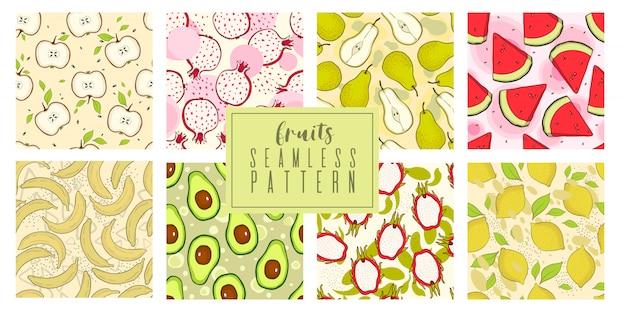 과일과 열매와 여름을 그리는 손의 설정된 패턴