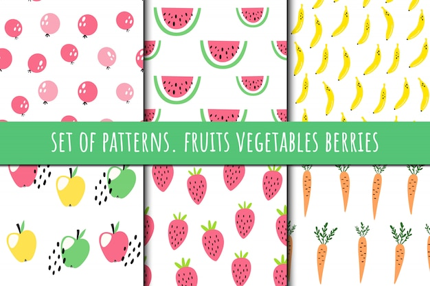 Set of patterns about fruits and vegetables