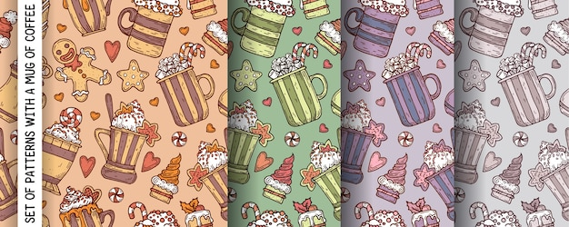 A set of patterns for christmas with hot drinks, cookies and cakes.