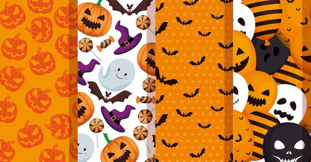 Set patterns of halloween decoration