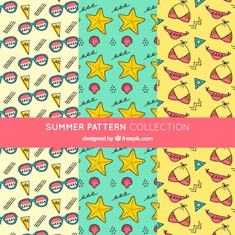 Set of patterns of hand-drawn summer accessories