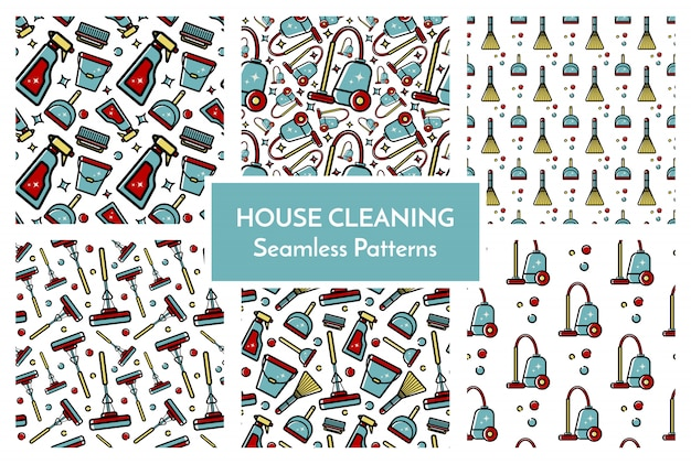 Set of patterns house cleaning