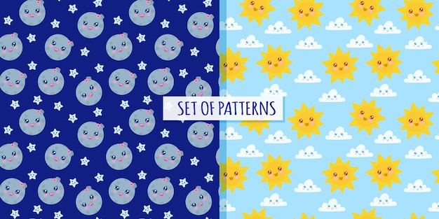 Set of patterns sun and moon