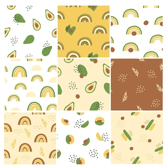 Set of patterns with avocado shapes, rainbows and abstract elements.