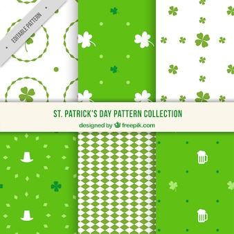 Set of patterns with saint patrick's day decoration