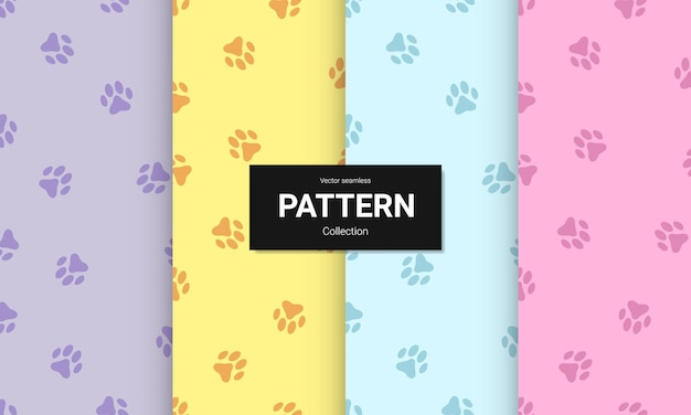 Set of paw print seamless pattern.