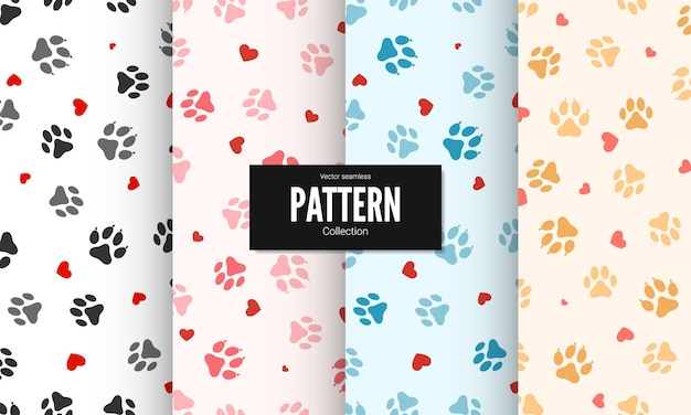 Set of paw print seamless texture. textile pattern cat footprints with hearts. cat footprint seamless pattern.