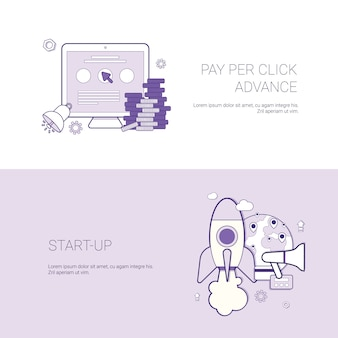 Set of pay per click and startup banners business concept template background with copy space