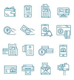 Set of payment icons with outline style