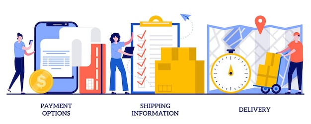 Set of payment options, shipping information, delivery, e-commerce website order processing