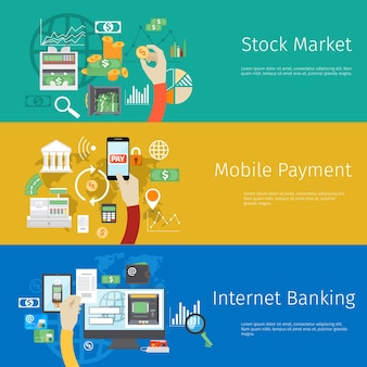 Set of payment web banners.